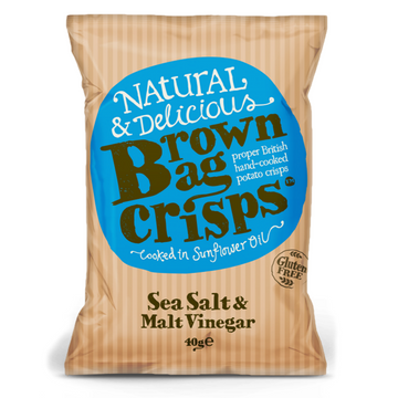 Brown Bag Salt & Vinegar Crisps - 20 x 40g - Food Republic Services Ltd.