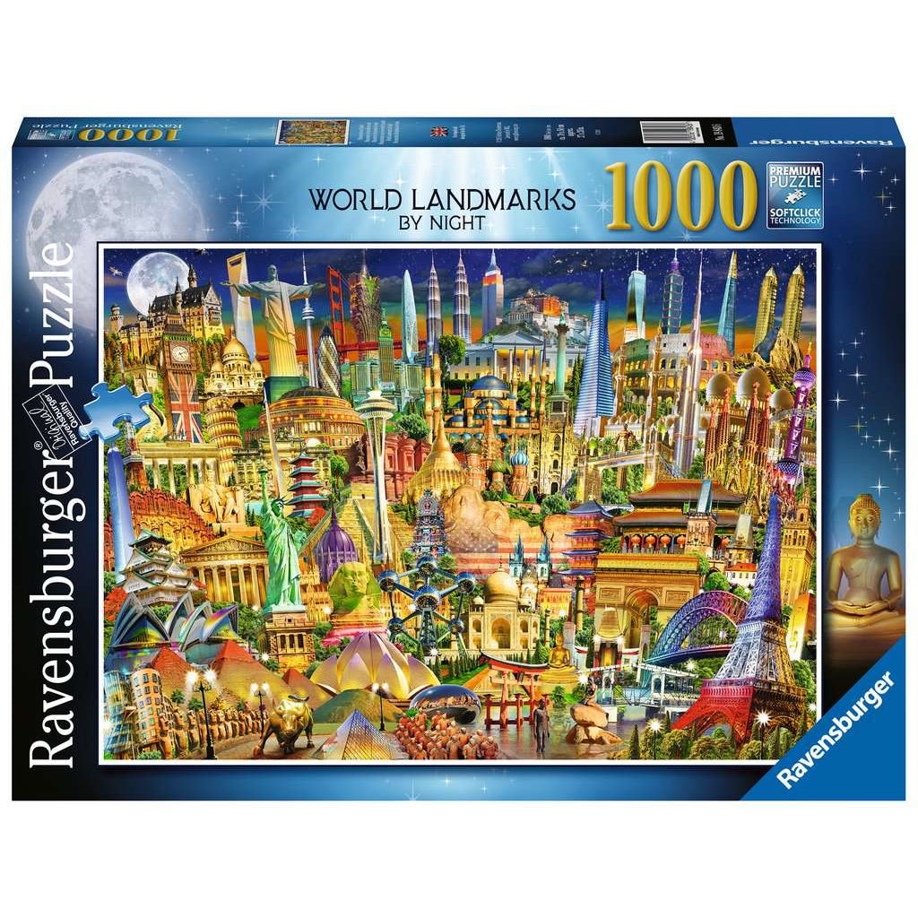 Puzzle: World Landmarks by Night (1000 pc) | Black Knight Games