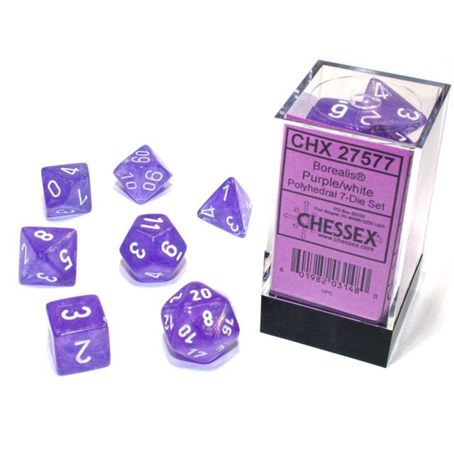 Borealis Purple with White Luminary 16mm RPG Set (7) | Black Knight Games