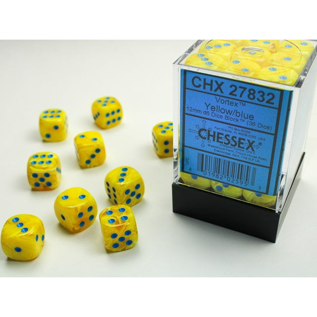 Vortex Yellow with Blue 12mm D6 Set (36) | Black Knight Games