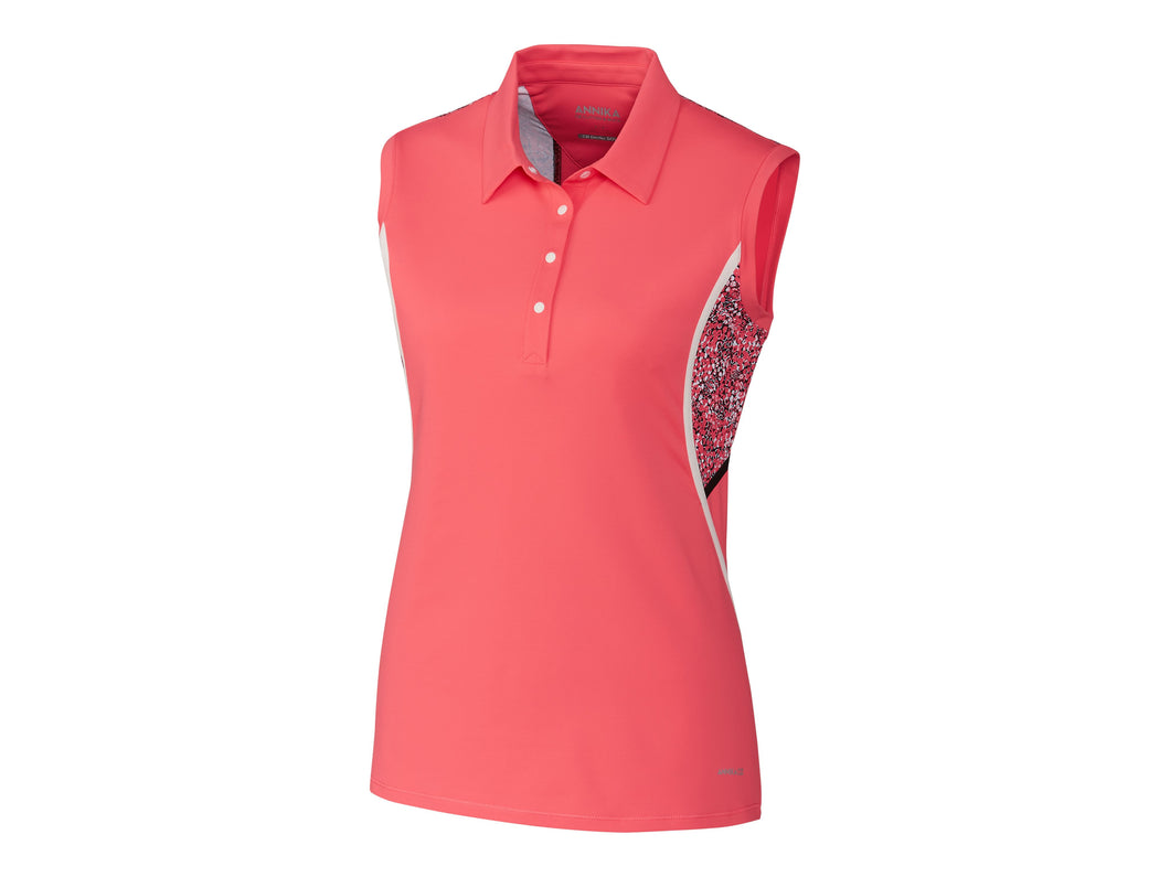 ANNIKA LADIES DIMENSION PRINT MIX POLO SLEEVELESS