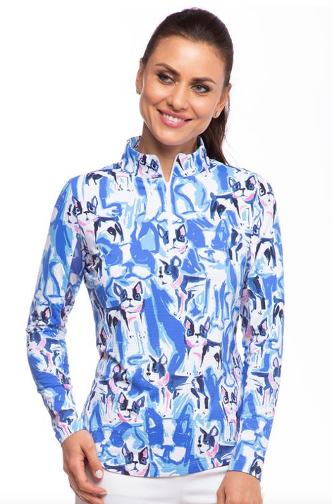IBKÜL FRENCH PRINT LONG SLEEVE MOCK NECK