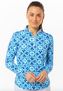 IBKÜL MOROCCAN TILE PRINT LONG SLEEVE MOCK NECK