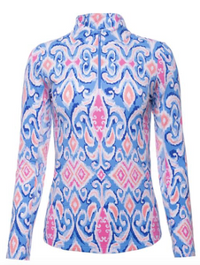 IBKÜL DOREEN PRINT LONG SLEEVE MOCK NECK