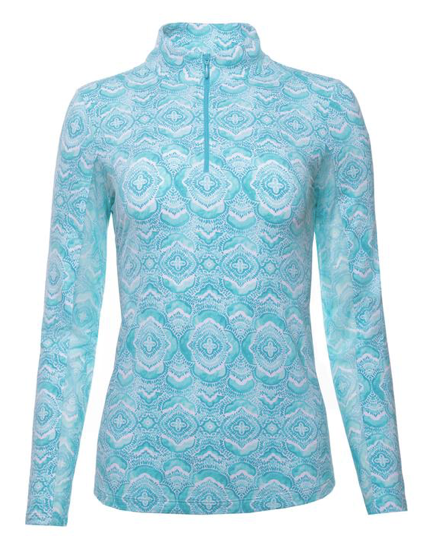 IBKÜL VENETIAN TILES PRINT LONG SLEEVE MOCK NECK