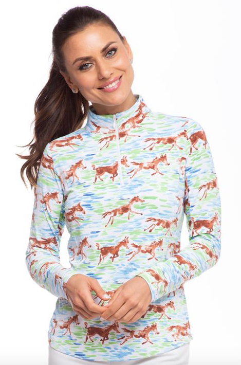 IBKÜL TURN-OUT PRINT LONG SLEEVE MOCK NECK
