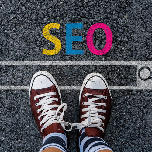 Red Converse sneakers in the SEO Google Search Bar