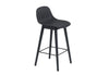 Fiber - Bar Stool W. Backrest / Wood base H 65 - Black/Black