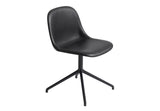Fiber - Side Chair / Swivel base - Silk Leather - Black/Black