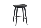 Fiber - Bar Stool / Wood base H 65 - Silk Leather - Black/Black