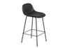 Fiber - Bar Stool W. Backrest / Tube base H 65 - Silk Leather - Black/Black