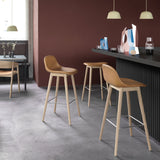 Fiber - Bar Stool W. Backrest / wood base H 65 - Silk Leather - Black/Black