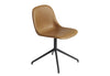 Fiber - Side Chair / Swivel base - Silk Leather - Cognac/Black