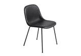 Fiber - Side Chair / Tube base -   Silk Leather - Black/Black