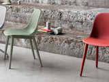 Fiber - Side Chair / Wood Base - Dusty Green/Dusty Green