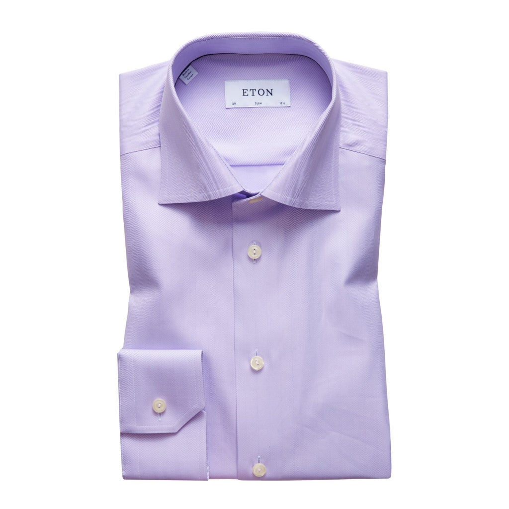 Eton Herringbone Twill Contemporary Fit Shirt Purple