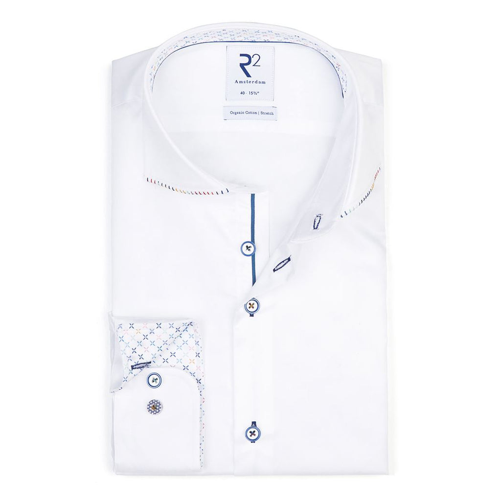 R2 Amsterdam Fine Twill Shirt With Trim Detail 004 White