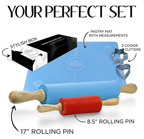 Silicon Rolling Pin & Pastry Mat Set