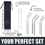 Stainless Steel Drinking Straws 3x2 Combo Kit