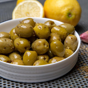 Mr Filbert's Pitted Green Halkidiki Olives with lemon and oregano.