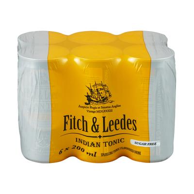 Fitch & Leedes Lite Indian Tonic 200ml Can 6 Pack