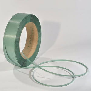 "Tycoon Polyester Strapping - 12mm x 0.47mm x 9,000ft, 16x6"" core, 567lbs break strength, green, 52 coils/skid"