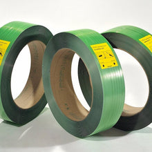 "Load image into Gallery viewer, Tycoon Polyester Strapping - 12mm x 0.47mm x 9,000ft, 16x6"" core, 567lbs break strength, green, 52 coils/skid"