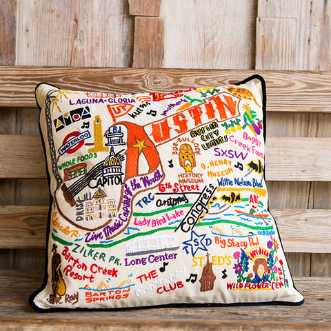 Austin Geo Embroidered Pillow