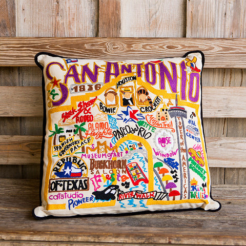 San Antonio Geo Embroidered Pillow