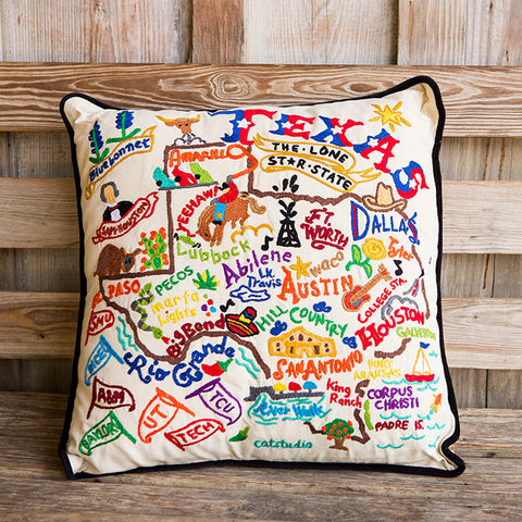 Texas Geo Embroidered Pillow