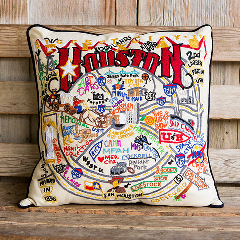 Houston Geo Embroidered Pillow