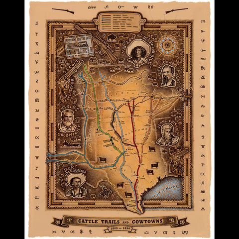 Smith Map Studio - Texas Cattle Trails & Cowtowns
