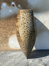 Wall vase with salt glaze, ash and ember markings where it was buried in the ashes
