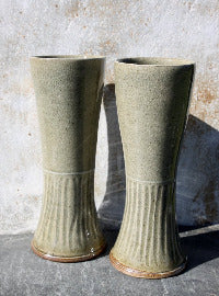 "Pair of tall tumblers, ""Iced Tea Ceremony Vessels, "" with pale blue celadon glaze with incised vertical lines"