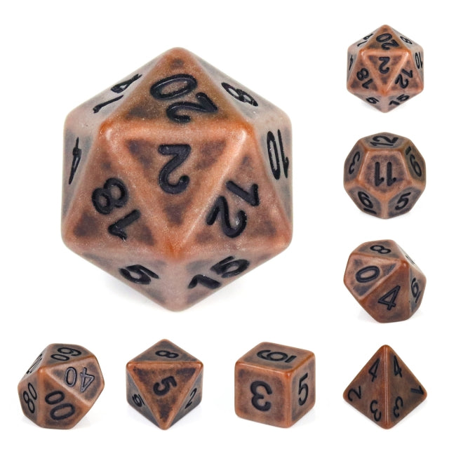 Dice Set 7 Ancient Copper