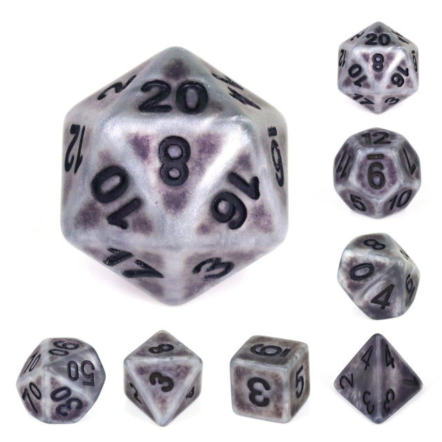 Dice Set 7 Ancient Silver