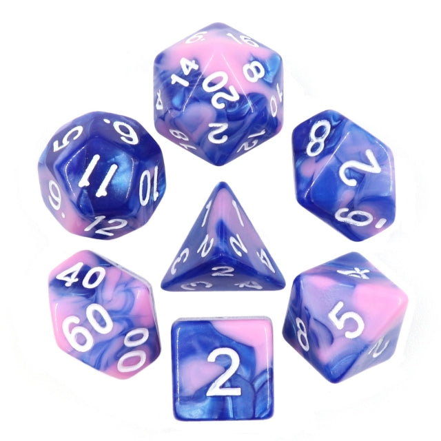 Dice Set 7 Blend Blue/Pink