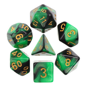 Dice Set 7 Blend Green/Black