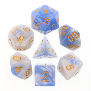 Dice Set 7 Blend Light Blue/White