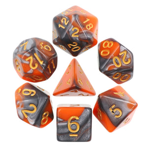 Dice Set 7 Blend Silver/Orange