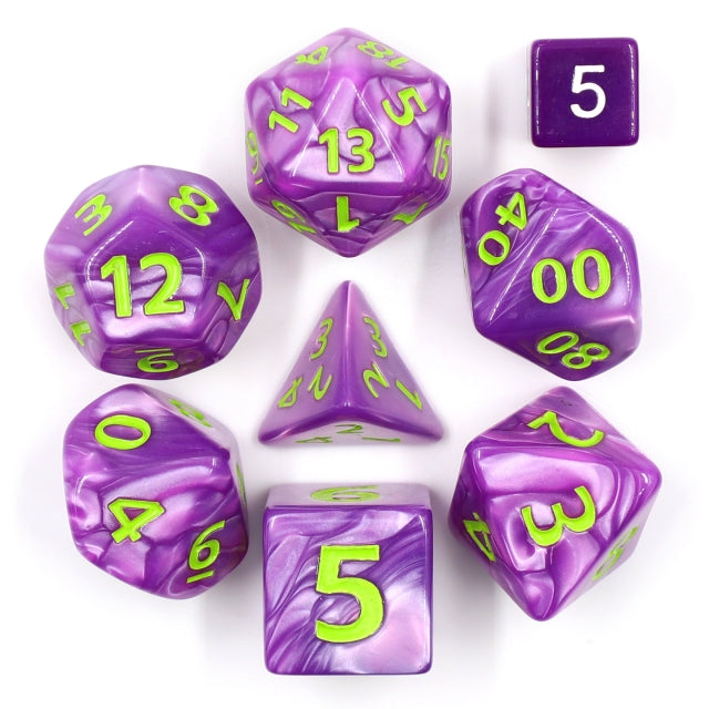 Dice Set 7 Giant Pearl Purple