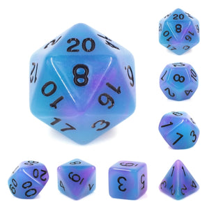 Dice Set 7 Glow Purple/Blue