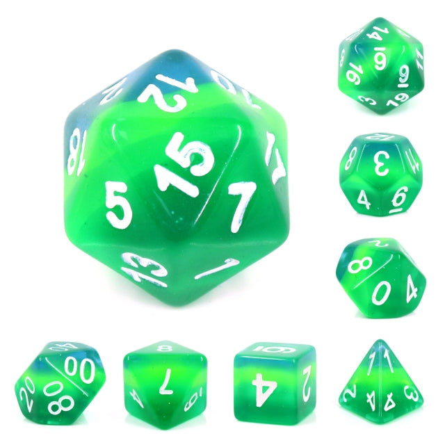 Dice Set 7 Gradient Green Gem