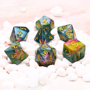 Dice Set 7 Marble Blue Red Yellow