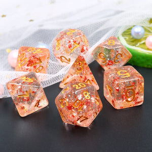 Dice Set 7 Metallic Ruby