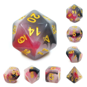 Dice Set 7 Opal Black & Red