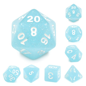 Dice Set 7 Sparkle Lime Blue