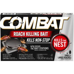 Combat Roach Killing Bait Stations for Small & Large Roaches, 12 Count