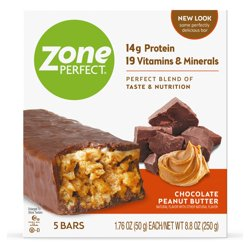 ZonePerfect Protein Bars, Chocolate Peanut Butter, 14g of Protein, Nutrition Bars With Vitamins & Minerals, Great Taste Guaranteed, 5 Bars