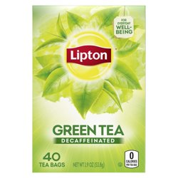 Lipton, Decaffeinated Green Tea, Tea Bags, 40 Ct